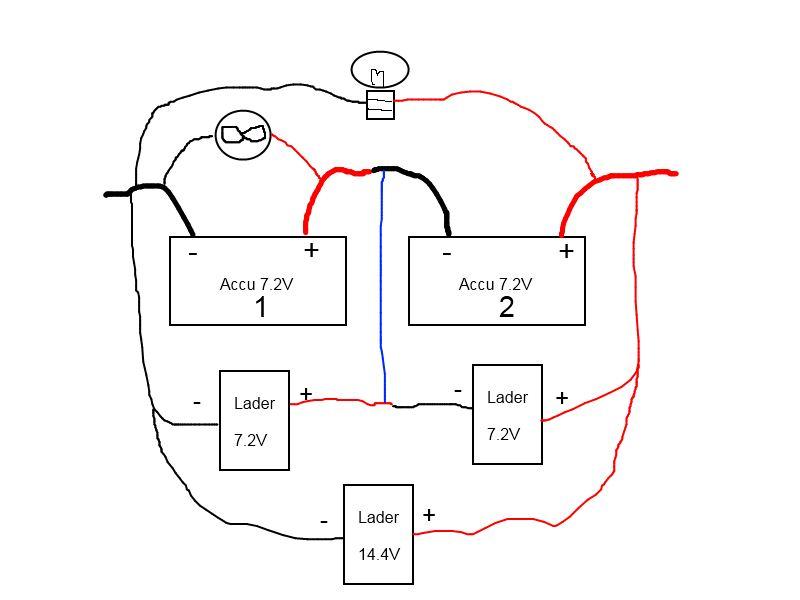 2x7v accu u0026 39 s  hoe naar 7v en 14v gebruiker tegelijkertijd